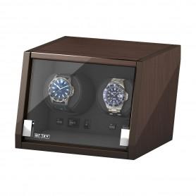Uhrenbeweger von Beco für 2 Armbanduhren | Walnuss braun