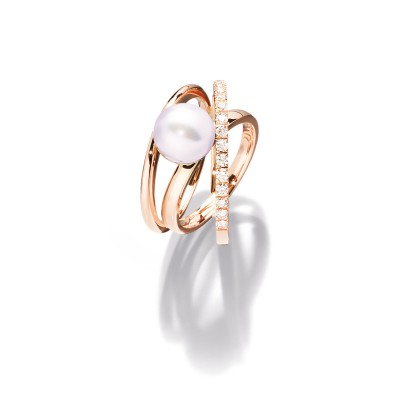 Erlesener Südsee Perlen Ring in 18kt Rotgold