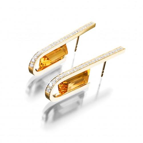 Ohrringe Pegasus in 18kt Gelbgold mit feinen Citrinen und Brillanten