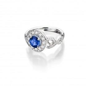 Saphir Ring Infinity in 18kt Weißgold mit feinen blauen Saphir und Brillanten