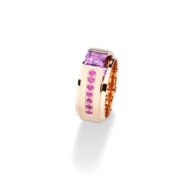 Ring mit Amethyst und rosa Saphiren aus der Linie Architect- Designring von Andreas Ableitner in 18kt Rotgold