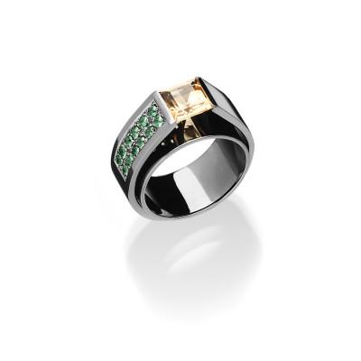 Ring mit Citrin Architect Full Black - Designring von Andreas Ableitner in 18kt Weißgold schwarz rhodiniert