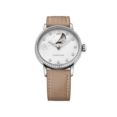 Louis Erard Emotion Damen- Automatik- Uhr in Edelstahl mit Brillanten Ref. 64603SE11