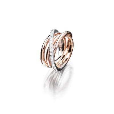 Ring Circle Evolution in 18kt Rosé- und Weißgold mit feinen Brillanten.
