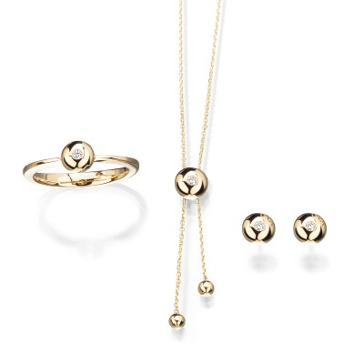 Schmuckset Solitär Shorty in 18kt Gelbgold