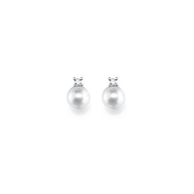 Zeitlose Ohrringe mit Akoya-Zucht-Perlen und feinen Brillanten