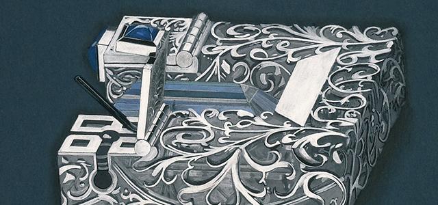 Handgemalter Entwurf von Andreas Ableitner des Colliermittelteiles Charisma