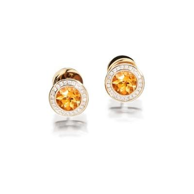 Citrin Ohrringe in 18kt Gelbgold mit Brillanten