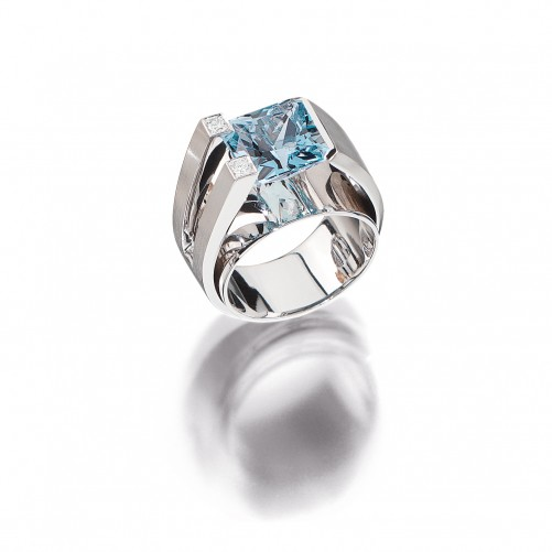 Andreas Ableitner| it's jewel art | modern art | Ring mit Aquamarin Architect MA 177