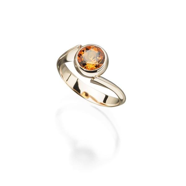 Ring in 18kt Roségold mit honiggelben Citrin aus der Goldschmiede Ableitner in Lieboch