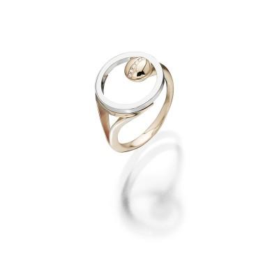 Kühner Ring in 18 kt Roségold, Edelstahl und Brillanten