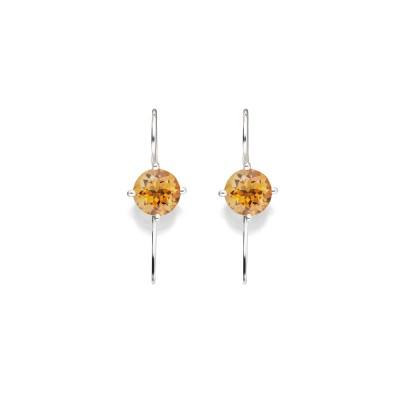 Schwanenhals-Ohrringe mit honiggelben Citrin