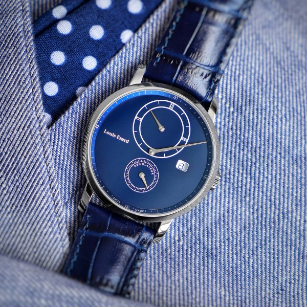 Armbanduhr mit Regulator-Zifferblatt