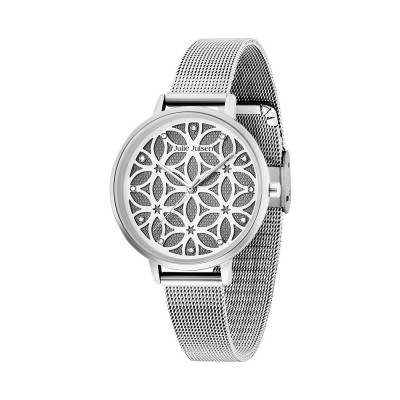 Julie Julsen Damenuhr Flower of Life Silver Mesh