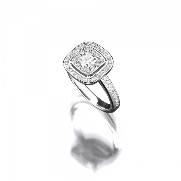 Princess-Diamant-Ring als Vorsteckring