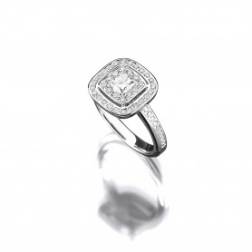 Princess-Diamantring in 18kt Weißgold