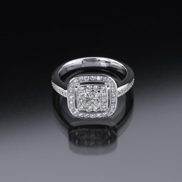 Princess-Diamantring in 18kt Weißgold aus der Goldschmiede Ableitner in Lieboch