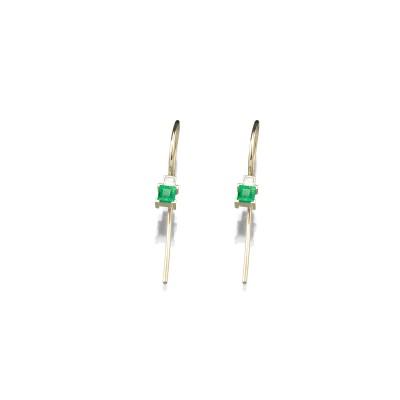 Zarte Ohrringe mit Schwanenhals in 585/000 Gelbgold mit Smaragd und Diamant