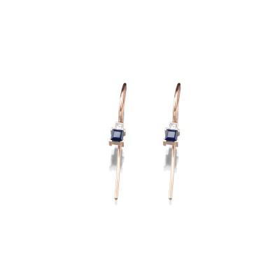 Zarte Ohrringe mit Schwanenhals in 585/000 Roségold mit Blausaphir und Diamant