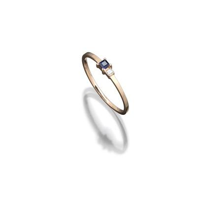 Zarter Ring in 585/000 Roségold mit Blausaphir und Diamanten im Karreeschliff