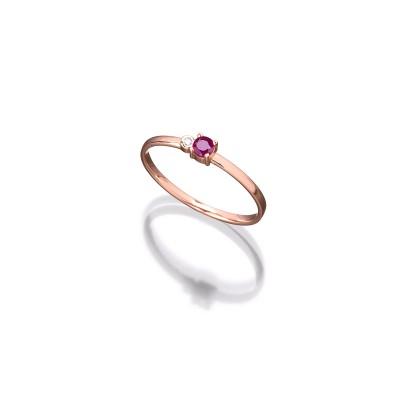Zarter Ring in 585/000 Roségold mit Rubin und Brillant