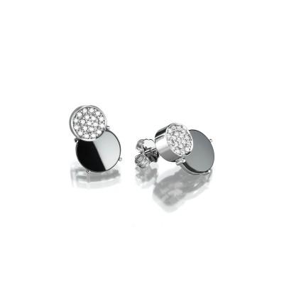 Ohrringe Ceramic Cosmos mit feinen Brillanten und schwarzer kratzfester Keramik