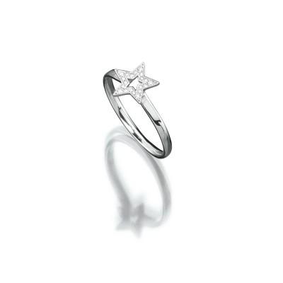 Zarter Sternen-Ring in 750/000 Weißgold der Linie Evaine Swing