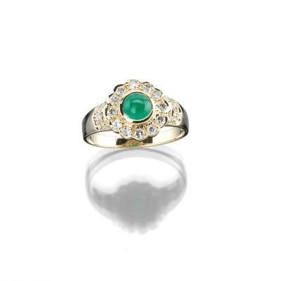 Stilvoller Smaragd-Brillantring in 585/000 Gelbgold
