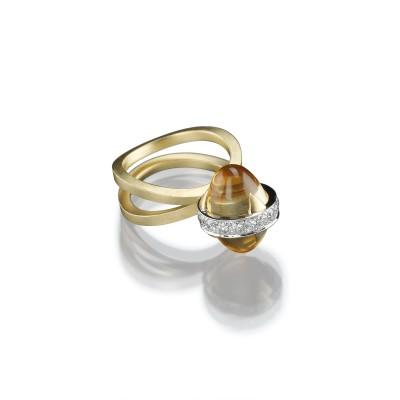 Außergewöhnlicher Ring mit Citrinen und Brillanten in 750/000 Gelb- und Weißgold