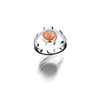 von ABLEITNER | Ring mit Mondstein und Brillanten | 750 Weißgold