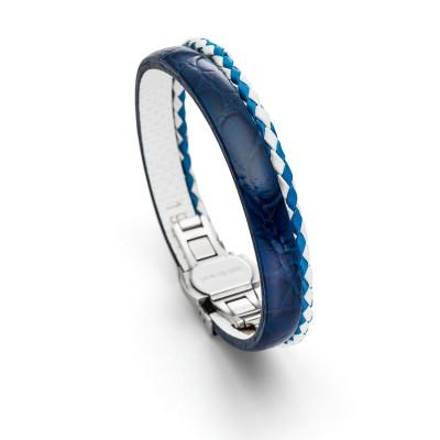 Maritimes Lederarmband in blauer und weißer Farbe