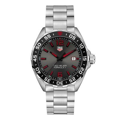 Sportliche Armbanduhr mit grau-rotem Zifferblatt