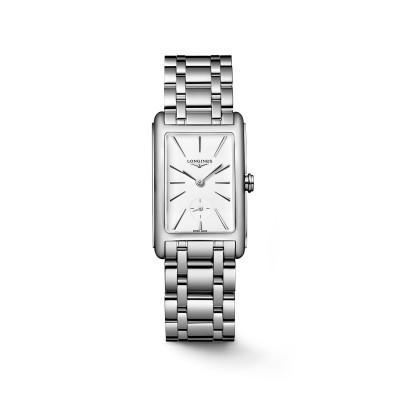 Elegante, rechteckige Damenuhr mit weißen Zifferblatt