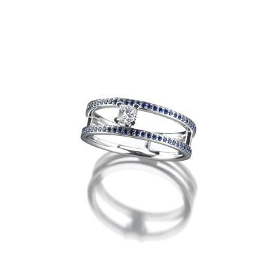 Ring in Weißgold mit feinen blauen Saphiren