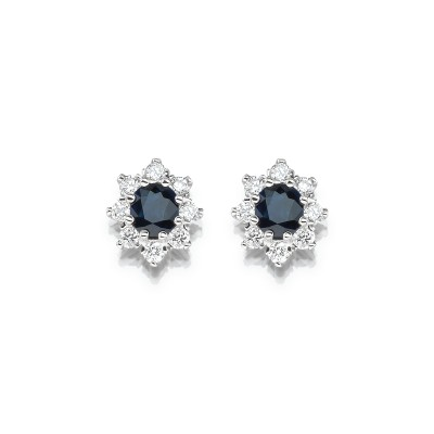 Ohrringe im royalen Stil mit blau Saphir