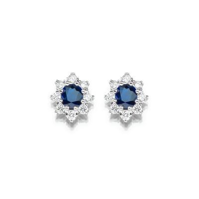 Ohrringe im royalen Stil mit blauen Saphiren