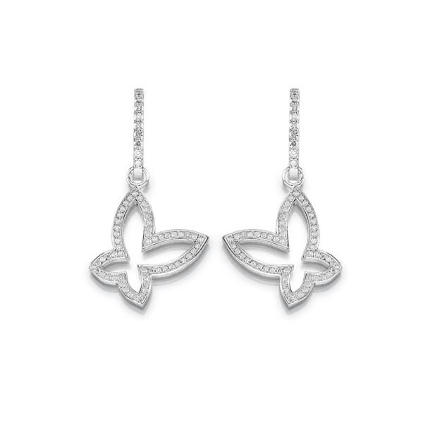 Brillant-Ohrringe mit Schmetterlingmotiv